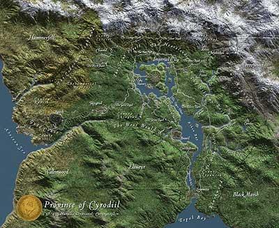 Terrain-Landkarte von Cyrodiil