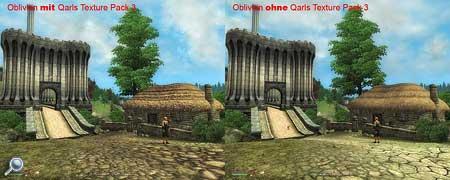 Qarls Texture Pack 3 im Vergleich: Spielezsenen aus Oblivion mit und ohne den Texturen Pack.