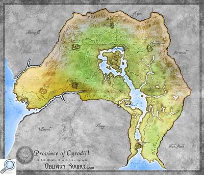 Landkarte von Cyrodiil in Farbe