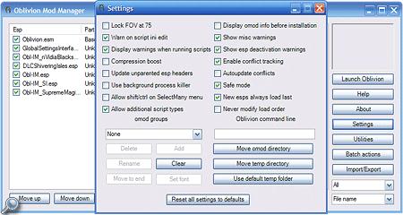 Hier seht ihr das Settings-Programmfenster des Oblivion Mod Manager - nur wenige Optionen bedürfen einer Anpassungen und selbst ohne diese, arbeitet das Programm absolut reibungslos.