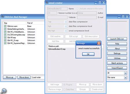 Ein kleines Popup-Fenster informiert dich über die erfolgreiche omod-Dateierstellung des Mod Managers.
