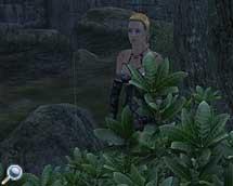 Charrie-Solee wartet unter einem Baum auf besseres Wetter.